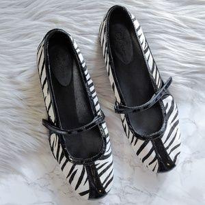 Cole Haan Air Beau Mary Jane Zebra Print Flats 8